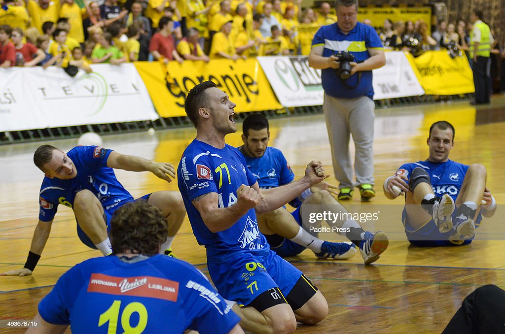 Luka viej team captain celebrating first place in Slovenian National cup Team Celje won the National Cup for the 18th time in their history Team...