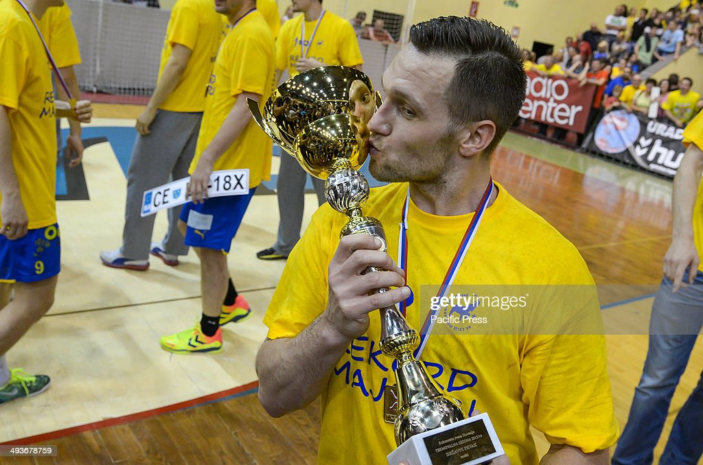 Luka viej with the cup for first place in Slovenian National Cup competition Team Celje won the National Cup for the 18th time in their history Team...