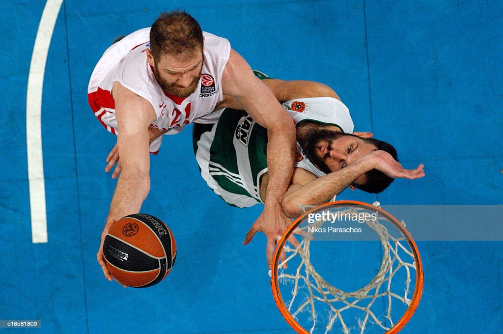 Luka Zoric, #21 of Cedevita Zagreb competes with Antonis Fotsis, #9 of Panathinaikos Athens during the 2015-2016 Turkish Airlines Euroleague Basketball Top 16 Round 13 game between Panathinaikos Athens v Cedevita Zagreb at Olympic Sports Center Athens on April 1, 2016 in Athens, Greece.