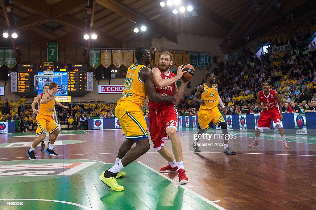 Luka Zoric, #21 of Cedevita Zagreb competes with Frejus Zerbo, #55 of Limoges CSP during the Turkish Airlines Euroleague Regular Season Round 7 game between Limoges CSP and Cedevita Zagreb at Beaublanc on November 26, 2015 in Limoges, France.