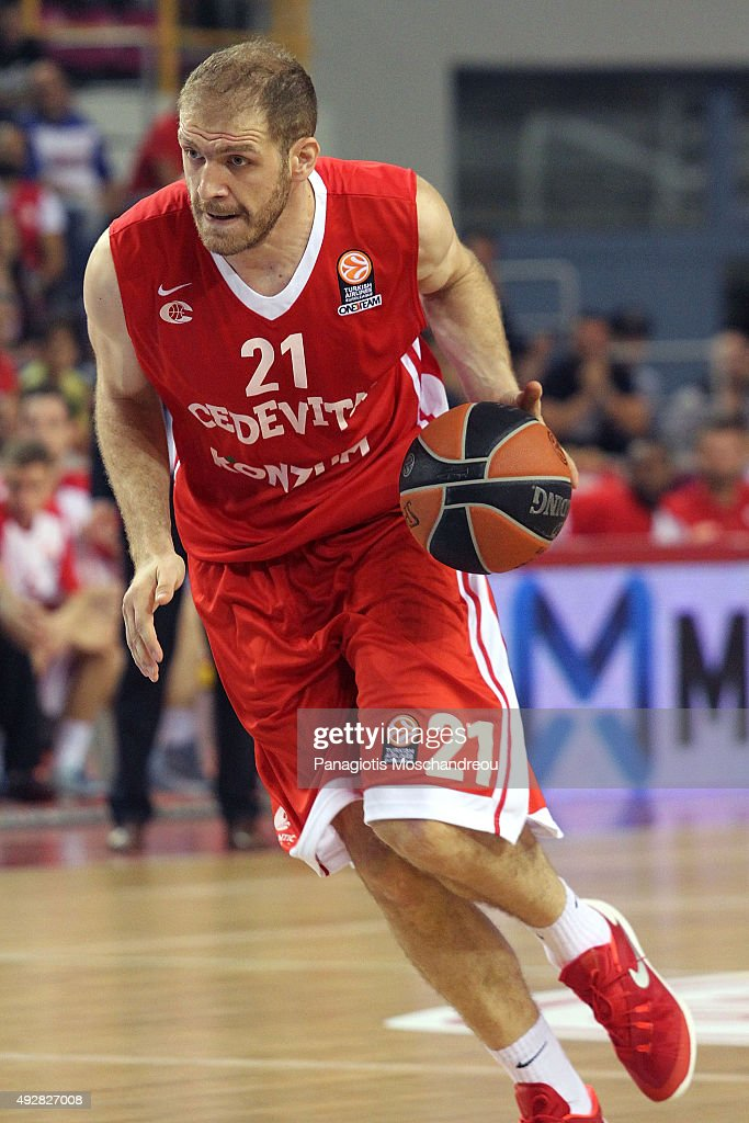 Luka Zoric, #21 of Cedevita Zagreb in action during the Turkish Airlines Euroleague Basketball Regular Season Date 1 game Olympiacos Piraeus v Cedevita Zagreb at Heraklion Arena on October 15, 2015 in Heraklion, Greece.