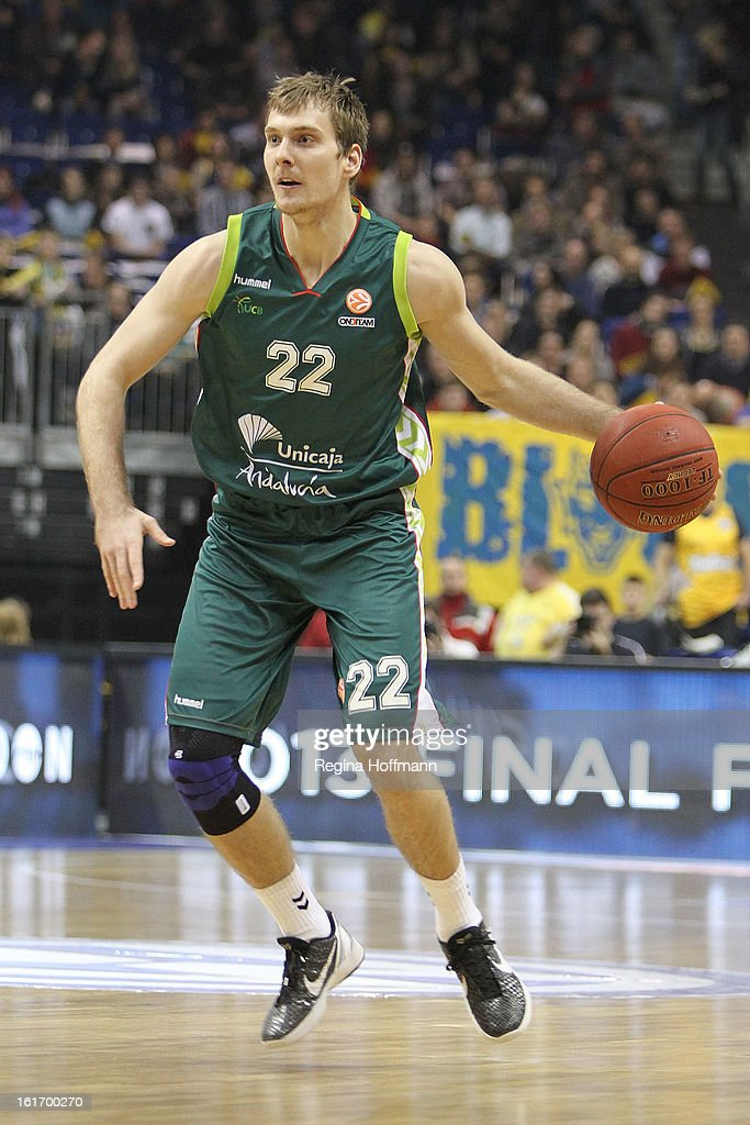 Luka Zoric, #21 of Unicaja Malaga in action during the 2012-2013 Turkish Airlines Euroleague Top 16 Date 7 between Alba Berlin v Unicaja Malaga at O2 World on February 14, 2013 in Berlin, Germany.