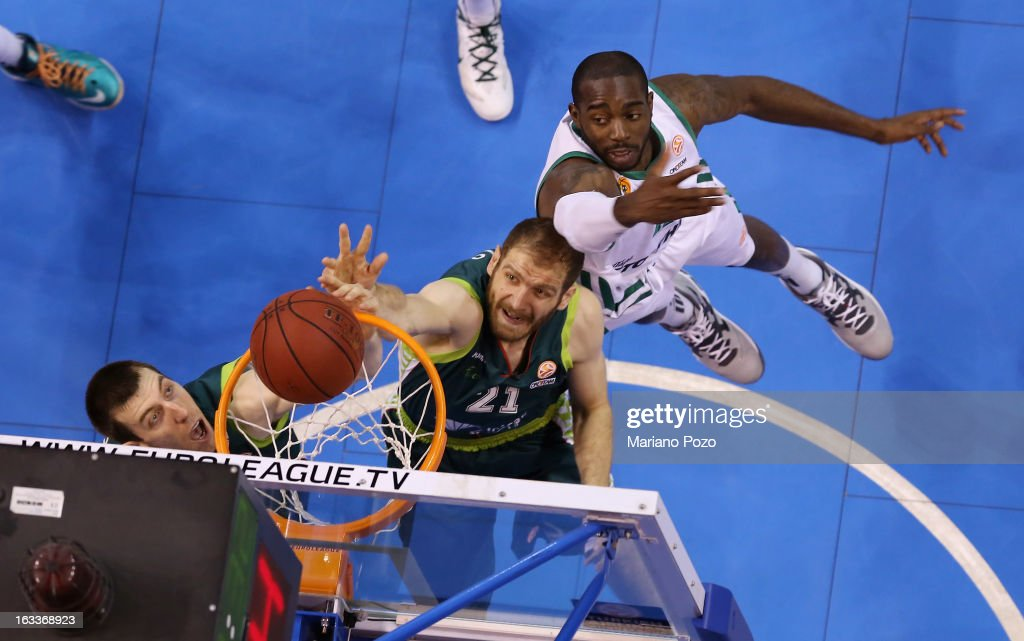 Luka Zoric, #21 of Unicaja Malaga in action during the 2012-2013 Turkish Airlines Euroleague Top 16 Date 10 between Unicaja Malaga v Panathinaikos Athens at Palacio Deportes J. M. Martin Carpena on March 8, 2013 in Malaga, Spain.