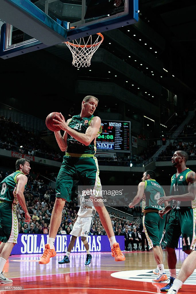 Luka Zoric, #21 of Unicaja Malaga in action during the 2012-2013 Turkish Airlines Euroleague Top 16 Date 11 between Real Madrid v Unicaja Malaga at Palacio Deportes Comunidad de Madrid on March 15, 2013 in Madrid, Spain.
