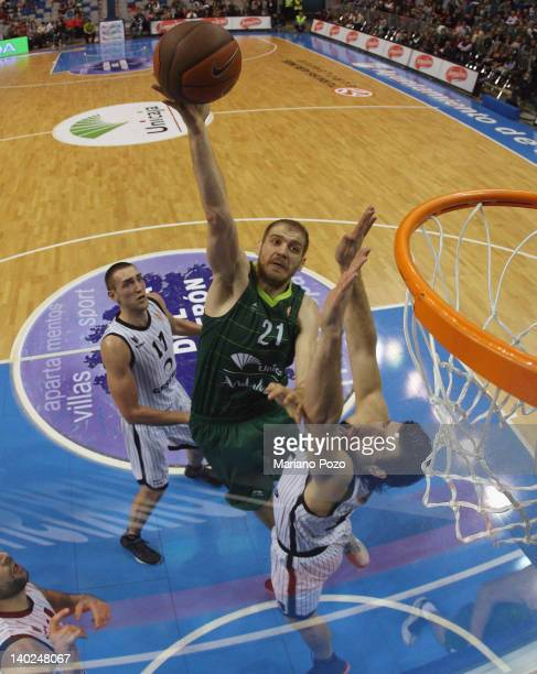 Luka Zoric of Unicaja in action during 20112012 Turkish Airlines Euroleague TOP 16 Game Day 6 between Unicaja v Gescrap BB at Palacio Deportes JM...