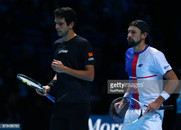 Lukaez Kubut and Marcelo Melo against Jamie Murray and Bruno Soares during Day six of the Nitto ATP World Tour Finals played at The O2 Arena London...