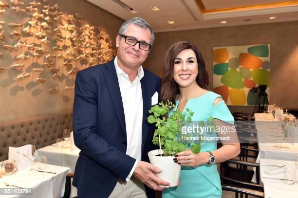 Lukas A Huber and Judith Williams attend the presentation of Judith Williams new cosmetics line EGF Tech Science for DM during the 'Medien Lunch With...