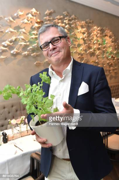 Lukas A Huber attends the presentation of Judith Williams new cosmetics line EGF Tech Science for DM during the 'Medien Lunch With Judith Williams'...
