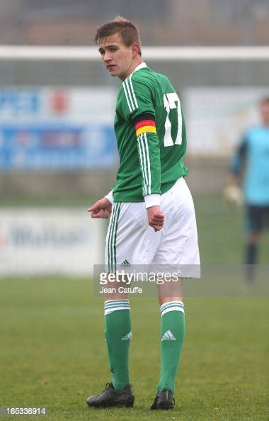 Lukas Boeder of Germany in action during the Tournament of Montaigu qualifier match between U16 Germany and U16 England at the Stade Saint Andre...