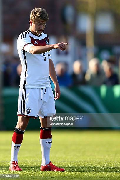 Lukas Boeder of Germany issues instructions during the U18 international friendly match between Germany and Wales at Eintracht Stadion on April 21...