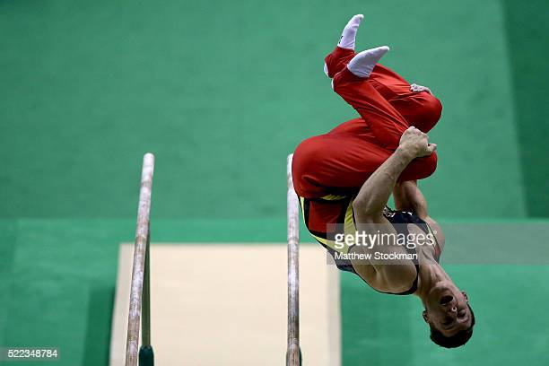Lukas Dauser of Germany competes on the parallel bars during the Final Gymnastics Qualifier Aquece Rio Test Event for the Rio 2016 Olympics at the...
