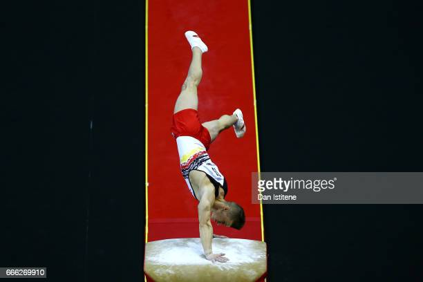 Lukas Dauser of Germany competes on the vault during the men's competition for the iPro Sport World Cup of Gymnastics at The O2 Arena on April 8 2017...