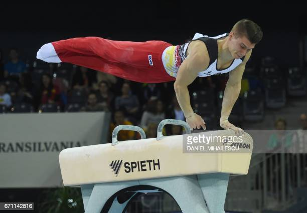 Lukas Dauser of Germany performs on the pommel horse during the men allaround final the European Artistic Gymnastics Championship in Cluj Napoca on...