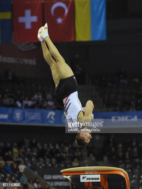 Lukas Dauser of Germany performs on the vault during the men allaround final the European Artistic Gymnastics Championship in Cluj Napoca on April 21...