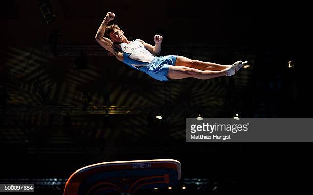 Lukas Dauser of KTV Straubenhardt competes in the Vault during the DTL Finals 2015 at Messehalle 2 on December 5 2015 in Karlsruhe Germany