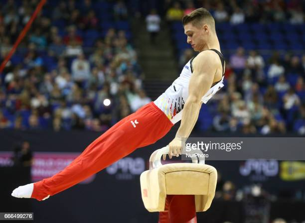Lukas Dauser on the Pommel Horse during the IPRO Sport World Cup of Gymnastics at The O2 Arena London England on 08 April 2017