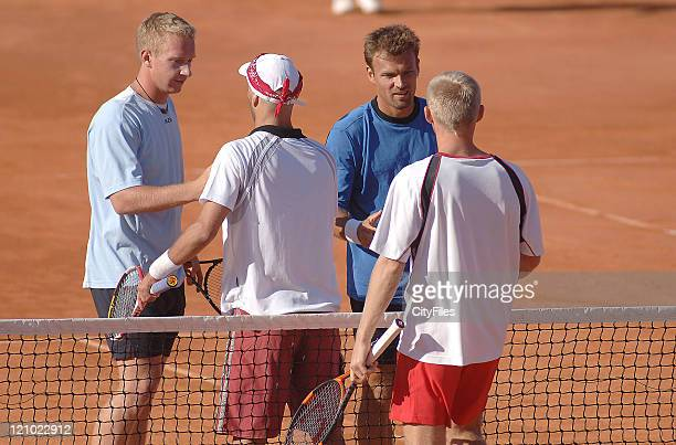 Lukas Dlouhy and Pavel Vizner with Lucas Arnold and Leos Friedl during the Doubles Final of the 2006 Estoril Open at the Estadio Nacional in Estoril...