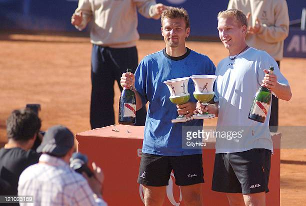 Lukas Dlouhy and Pavel Vizner with trophies after defeating Lucas Arnold and Leos Friedl during the Doubles Final of the 2006 Estoril Open at the...