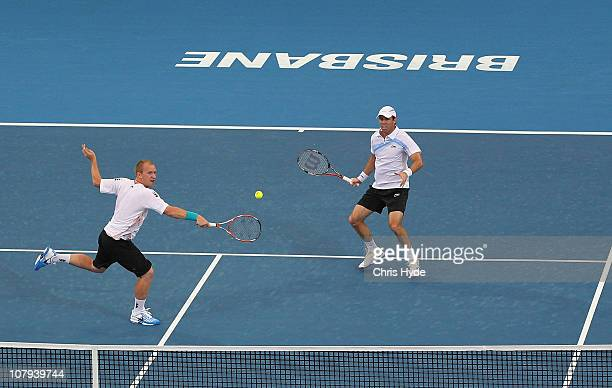 Lukas Dlouhy of Czech Republic and Paul Hanley of Australia compete in the Men's doubles final match against Robert Lindstedt of Sweden and Horia...