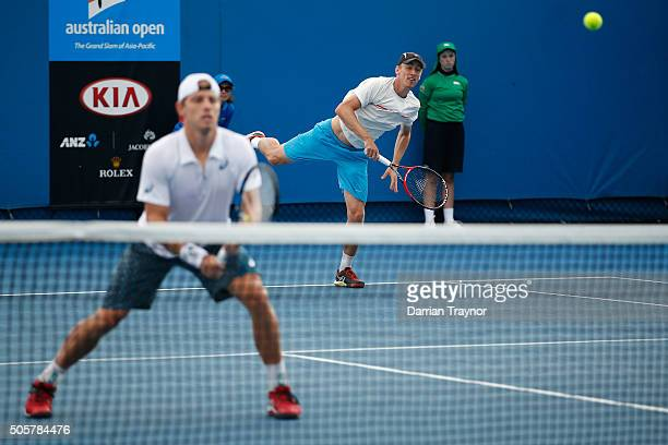 Lukas Dlouhy of the Czech Republic and Jiri Vesely of the Czech Republic compete in their first round match against James Duckworth of Australia and...
