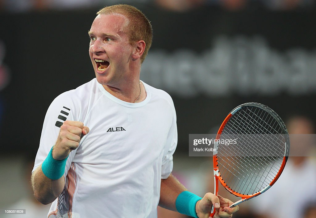 Lukas Dlouhy of the Czech Republic playing with Paul Hanley of the Australia celebrates winning a point in the men's doubles final match against Bob...