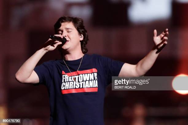 Lukas Graham performs on stage during the Nobel Peace Prize Concert to honor the peace prize laureates ICAN in Fornebu Norway on December 11 2017 /...