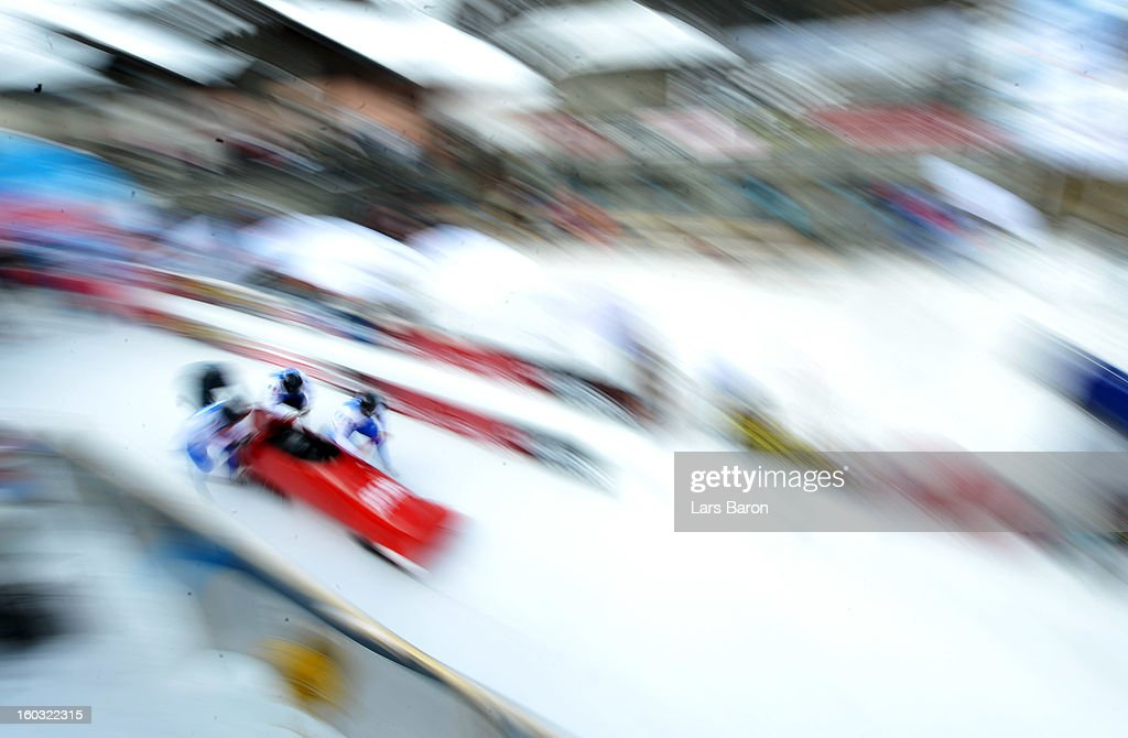 Lukas Gschnitzer, Danilo Zanarotto, Luca Pagin and William Frullani of Italy compete during a training session at Olympia Bob Run on January 29, 2013 in St Moritz, Switzerland.