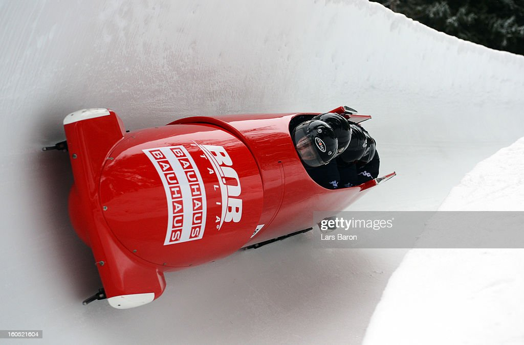 Lukas Gschnitzer, Danilo Zanarotto, Luca Pagin and William Frullani of Italy compete during the Four Men Bobsleigh heat one of the IBSF Bob & Skeleton World Championship at Olympia Bob Run on February 2, 2013 in St Moritz, Switzerland.