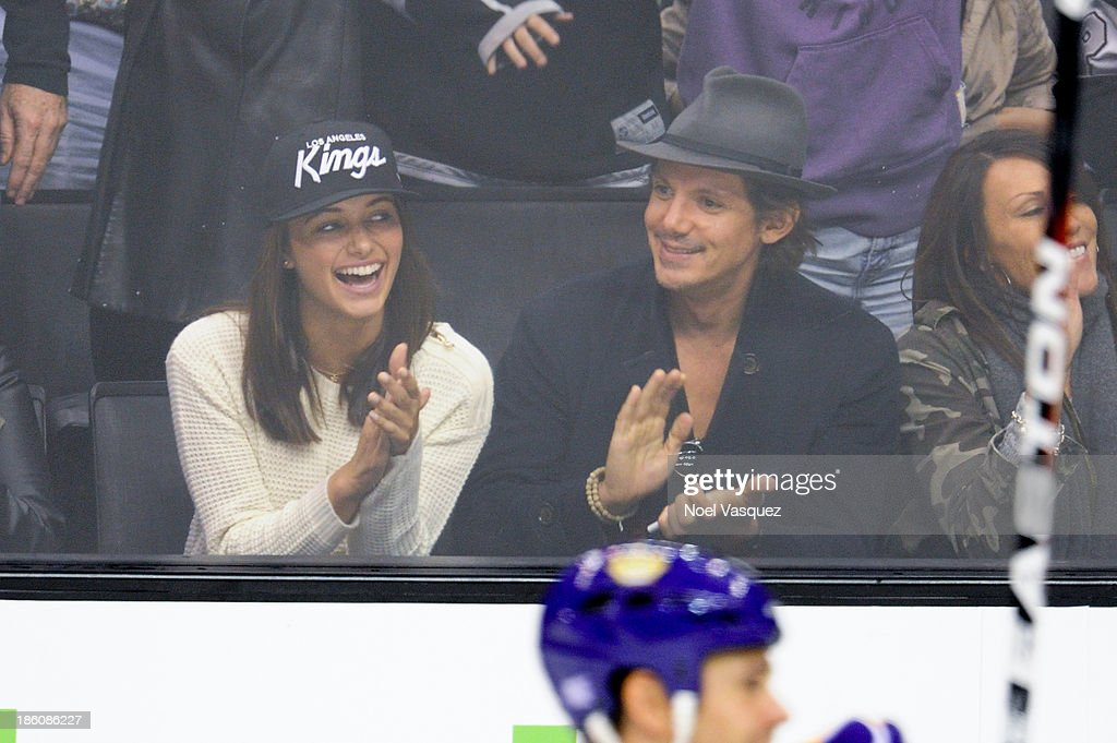Lukas Haas (R) attends a hockey game between the Edmonton Oilers and the Los Angeles Kings at Staples Center on October 27, 2013 in Los Angeles, California.