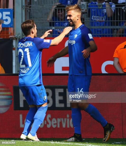 Lukas Hinterseer of Bochum celebrates after scoring his team`s goal during the Second Bundesliga match between VfL Bochum 1848 and SG Dynamo Dresden...