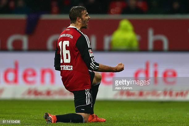 Lukas Hinterseer of Ingolstadt celebrates his team's second goal during the Bundesliga match between FC Ingolstadt and Werder Bremen at Audi...