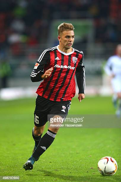 Lukas Hinterseer of Ingolstadt runs with the ball during the Bundesliga match between FC Ingolstadt and SV Darmstadt 98 at Audi Sportpark on November...