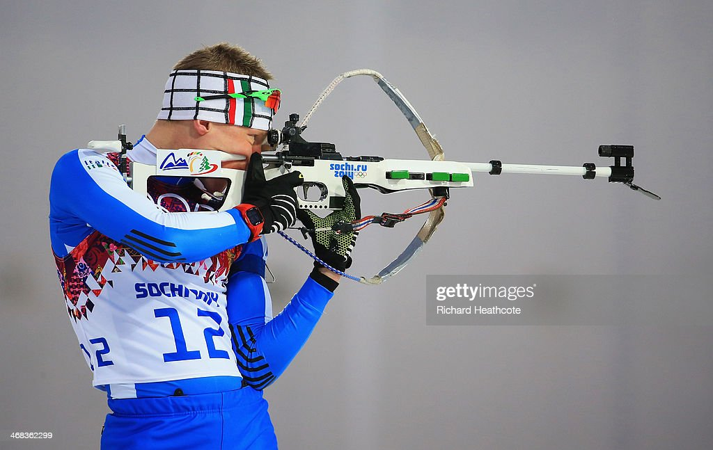 <a gi-track='captionPersonalityLinkClicked' href=/galleries/search?phrase=Lukas+Hofer&family=editorial&specificpeople=6583823 ng-click='$event.stopPropagation()'>Lukas Hofer</a> of Italy practices ahead of the Men's 12.5 km Pursuit during day three of the Sochi 2014 Winter Olympics at Laura Cross-country Ski & Biathlon Center on February 10, 2014 in Sochi, Russia.