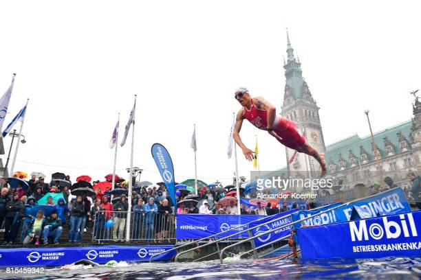 Lukas Hollaus of Austria jumps into the water during the Elite Mixed Relay at Hamburg Wasser ITU World Triathlon Championships 2017 on July 16 2017...