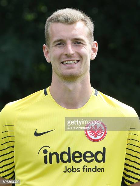 Lukas Hradecky from German first division Bundesliga football team Eintracht Frankfurt poses for a photo in Frankfurt Germany on August 4 2017 / AFP...