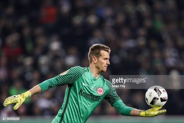 Lukas Hradecky goal keeper of Frankfurt holds the ball during the DFB Cup semi final match between Borussia Moenchengladbach and Eintracht Frankfurt...