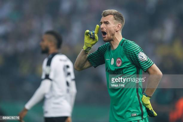 Lukas Hradecky goal keeper of Frankfurt reacts during the DFB Cup final match between Eintracht Frankfurt and Borussia Dortmund at Olympiastadion on...