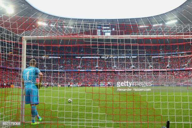 Lukas Hradecky keeper of Frankfurt looks on during the Bundesliga match between Bayern Muenchen and Eintracht Frankfurt at Allianz Arena on March 11...