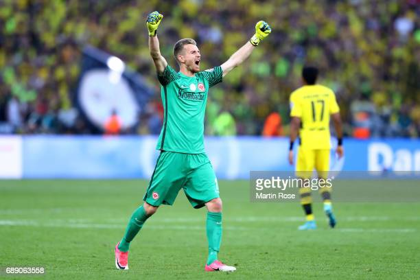 Lukas Hradecky of Eintracht Frankfurt celebrates his team's first goal during the DFB Cup Final 2017 between Eintracht Frankfurt and Borussia...
