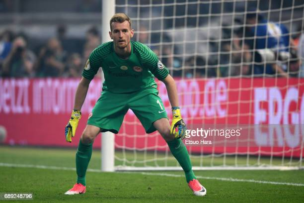 Lukas Hradecky of Eintracht Frankfurt in action during the DFB Cup Final match between Eintracht Frankfurt and Borussia Dortmund at Olympiastadion on...