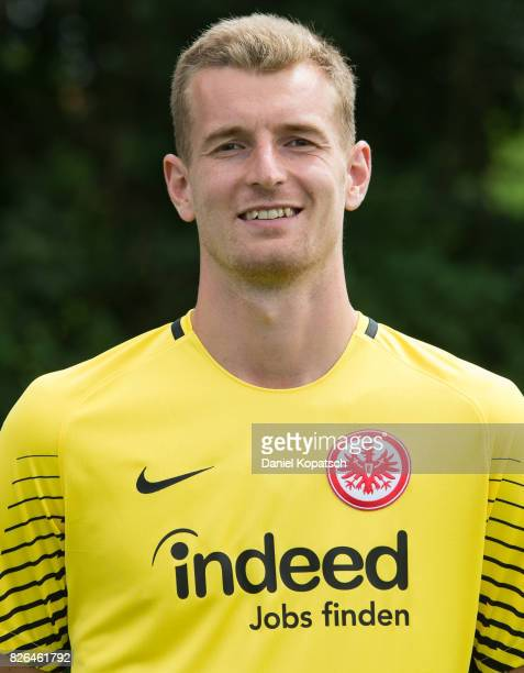 Lukas Hradecky of Eintracht Frankfurt poses during the team presentation at on August 4 2017 in Frankfurt am Main Germany