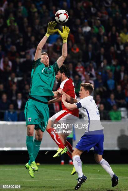Lukas Hradecky of Finland in action during the Austria v Finland International Friendly match at Tivoli Stadium on March 28 2017 in Innsbruck Austria