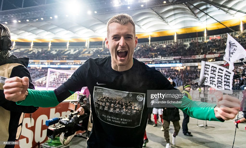 Lukas Hradecky of Frankfurt celebrates the victory during the Bundesliga match between Eintracht Frankfurt and 1. FSV Mainz 05 at Commerzbank-Arena on December 20, 2016 in Frankfurt am Main, Germany.