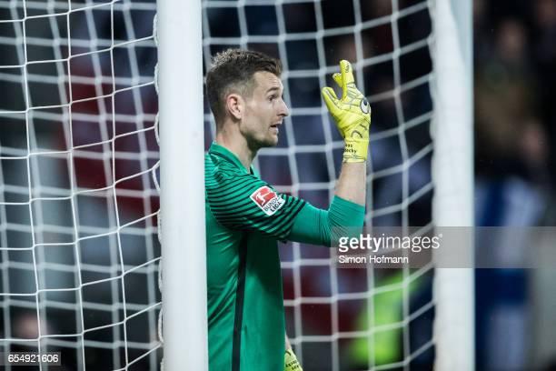 Lukas Hradecky of Frankfurt gestures during the Bundesliga match between Eintracht Frankfurt and Hamburger SV at CommerzbankArena on March 18 2017 in...