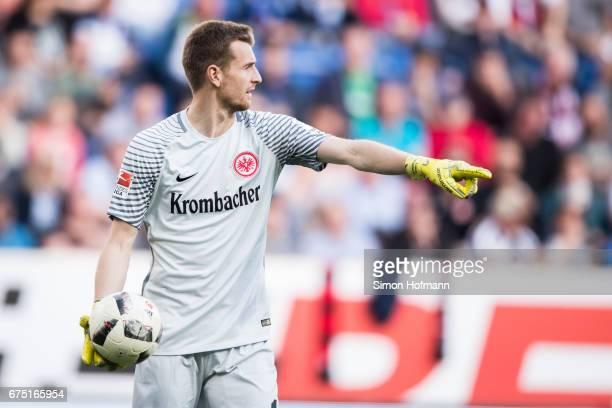Lukas Hradecky of Frankfurt gestures during the Bundesliga match between TSG 1899 Hoffenheim and Eintracht Frankfurt at Wirsol RheinNeckarArena on...