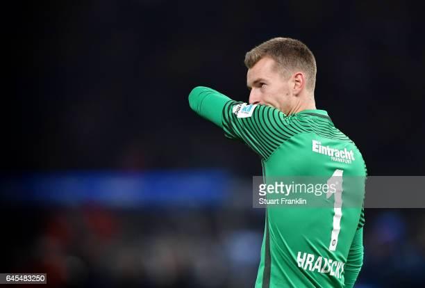 Lukas Hradecky of Frankfurt looks dejected during the Bundesliga match between Hertha BSC and Eintracht Frankfurt at Olympiastadion on February 25...