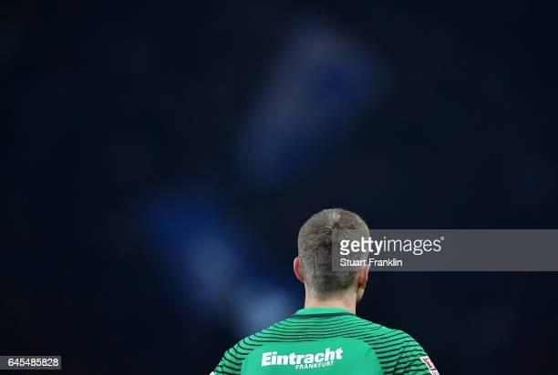 Lukas Hradecky of Frankfurt looks on during the Bundesliga match between Hertha BSC and Eintracht Frankfurt at Olympiastadion on February 25 2017 in...
