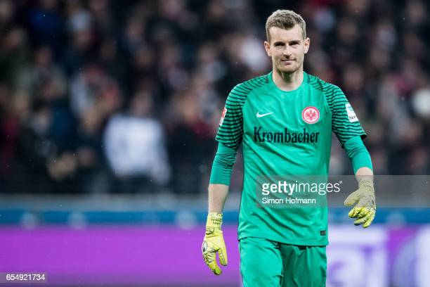 Lukas Hradecky of Frankfurt reacts during the Bundesliga match between Eintracht Frankfurt and Hamburger SV at CommerzbankArena on March 18 2017 in...