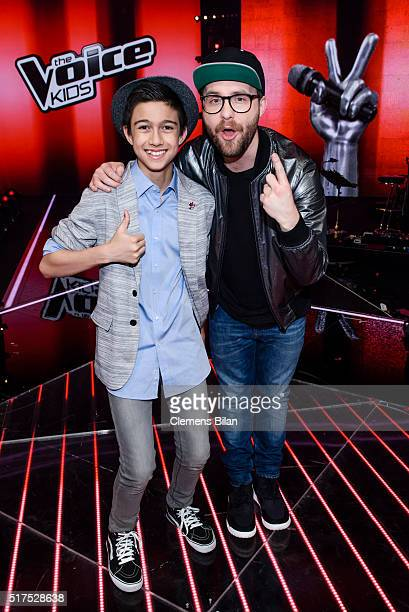 Lukas Janisch and Mark Forster pose during the 'The Voice Kids' Finals on March 25 2016 in Berlin Germany