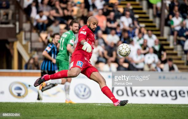 Lukas Jonsson goalkeepeer of IK Sirius FK during the Allsvenskan match between IK Sirius FK and Hammarby IF at Studenternas IP on May 21 2017 in...